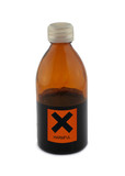 small glass bottle with harmful sign poster