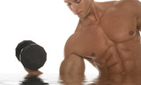 muscular body builder lifting dumbbell poster