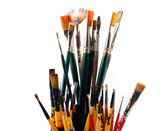 paintbrushes on a white background - close up poster