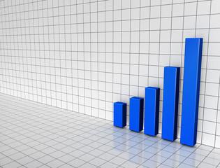 blue bar chart on 3d grid