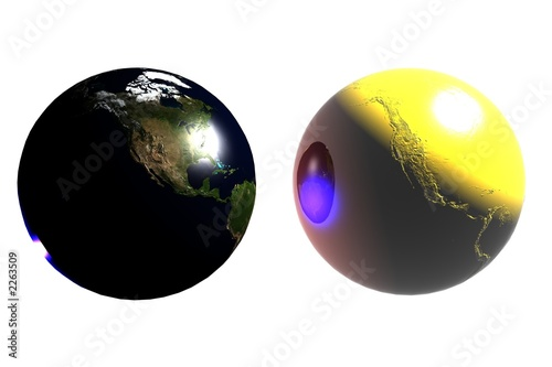 twin earths (natural/gold)