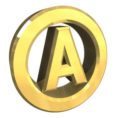 simbolo tondo con a in oro