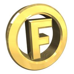 simbolo cerchio con f in oro