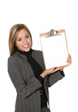 business woman with clipboard poster