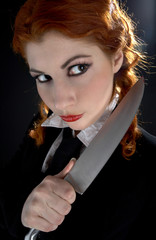 crazy schoolgirl with knife