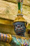 statue of demon at wat phra kaew, bangkok poster