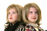 twin glamour models with wigs looking up