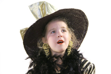 little girl with hat & boa expression