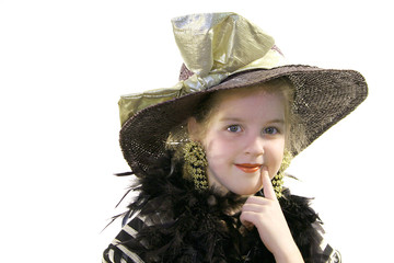 little girl with hat & boa