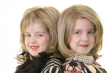 children dressup modeling headshot on white