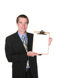business man holding clipboard poster