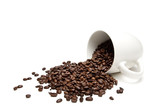 Fototapety spilt coffee beans isolated on white