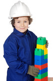 adorable future builder constructing a brick wall with toy piece poster