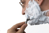 close up of shaving man poster
