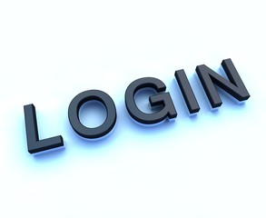 login 3d sign