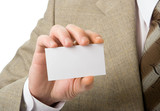 business man hand show visiting card poster