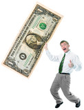 businessman hold big size us dollar poster
