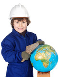 adorable future builder constructing the world poster