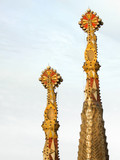 sagrada familia tower tops, barcelona, spain poster