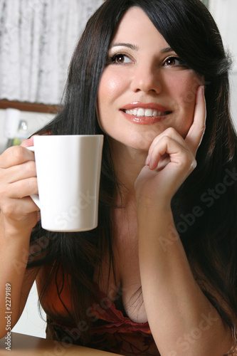 woman with a mug of coffee