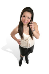 cute asian woman on phone