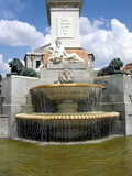 small fountain on plaza de oriente, madrid poster