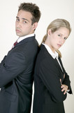 Young business couple talking poster