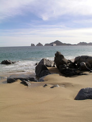rocks & lands end in distance in cabo