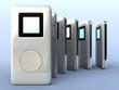 Leinwanddruck Bild - six digital music players