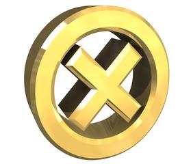 simbolo spunto ko in oro tondo