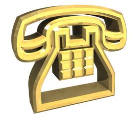 simbolo telefono sottile in oro a fondo bianco