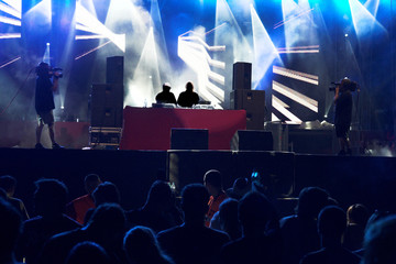techno concert crowd