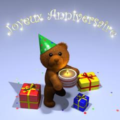 carte joyeux anniversaire nounours