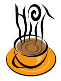 hot coffee illustration poster