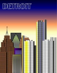 detroit downtown illustration