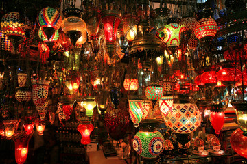 turkish lanterns on the grand bazaar in istanbul,