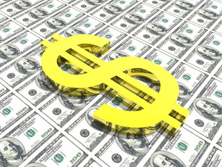 dollar symbol in money background