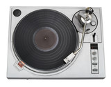 stylish turntable top view with disk (clipping pat poster