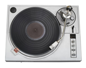 stylish turntable top view with disk (clipping pat
