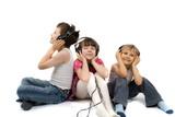 Fototapety children listening to music