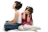 Fototapety brother and sister listening to headphones