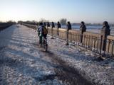 cycliste sur un pont poster