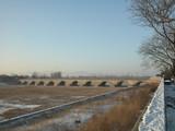 pont sur une riviere gelée poster