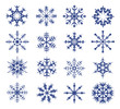 blue snowflakes on a white background.