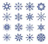 blue snowflakes on a white background.