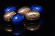 gold and blue easter eggs