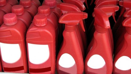bottles of cleaning product.bleach.polish.disinfec