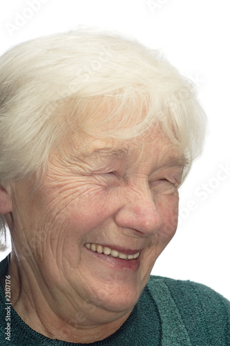 old woman laughing