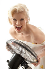 screaming housewife with fan