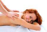 man hand massage beauty redheaded girl poster